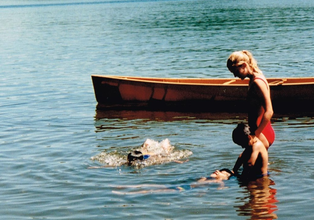 Teaching swimming at Lac Manitou circa 1995