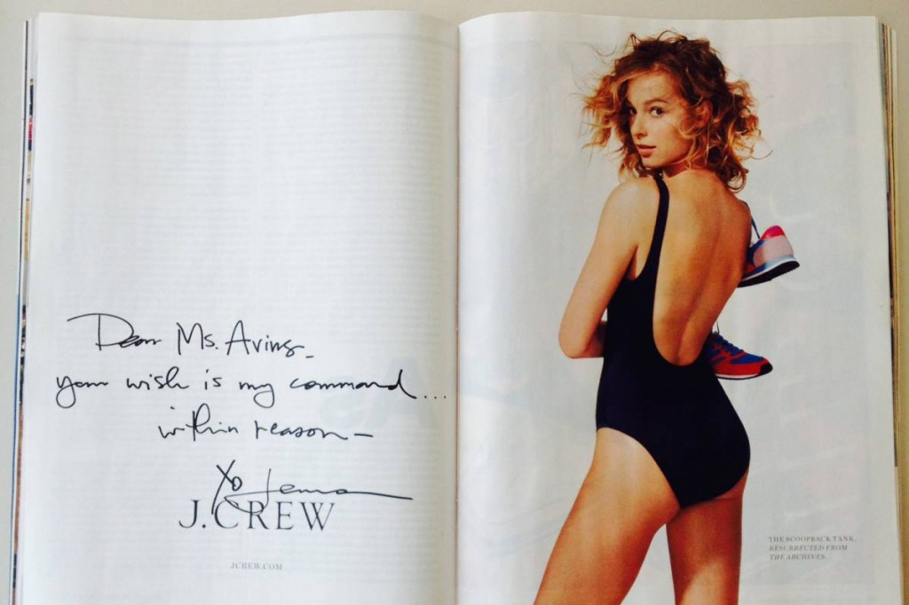 The J. Crew ad for the re-issued scoop back tank, as featured recently in New York Magazine.